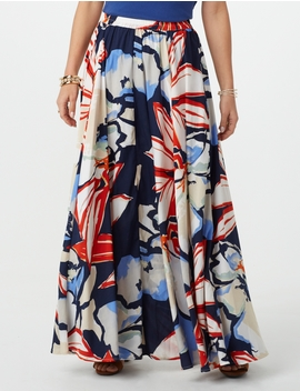 Abstract Floral Full Maxi Skirt by Dressbarn