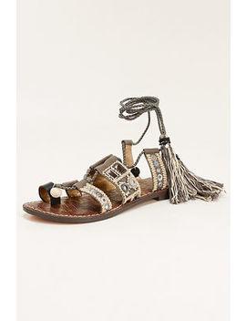 Pom Pom Lace Up Sandal by Boston Proper