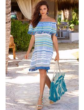 Off The Shoulder Tassel Stripe Dress by Boston Proper