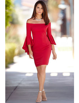 Off The Shoulder Bell Sleeve Dress by Boston Proper