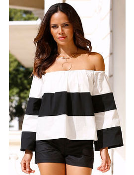 Off The Shoulder Chunky Striped Top by Boston Proper