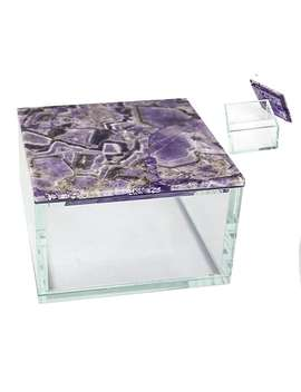 Sagebrook Home Agate Top Box; Purple by Staples