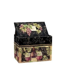 Fleur De Lis Living Gilded Wine Recipe Card Decorative Box by Staples