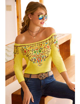 Off The Shoulder Colorful Embroidered Top by Boston Proper
