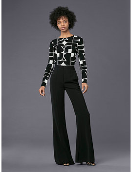 Long Sleeve Crew Neck Dvf Logo Top by Dvf