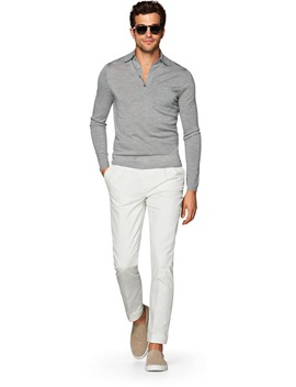 Grey Long Sleeve Polo Jort by Suitsupply