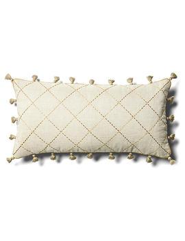 """Quilted 10x20 Lumbar Pillow, Tan Linen by [""""Joanna Buchanan""""]"""