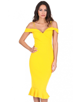 Yellow Off The Shoulder Strappy Fishtail Dress by Ax Paris