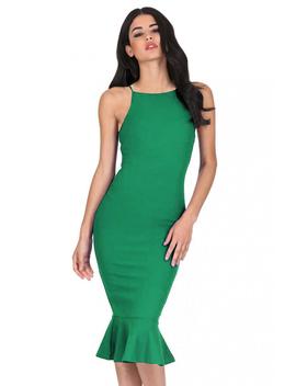 Green Bodycon Midi Dress With Frill Hem by Ax Paris