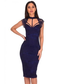 Navy Lace Harness Detailing Midi Dress by Ax Paris