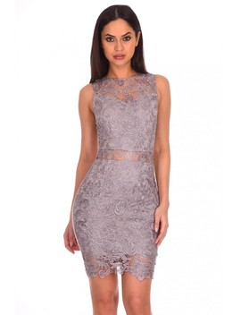 Silver Crochet Embroidered Midi Dress by Ax Paris