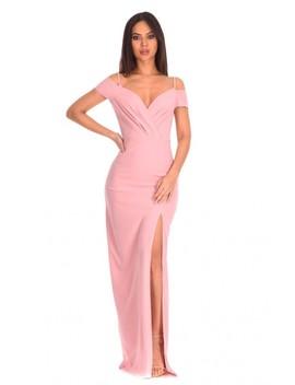 Nude Wrap Over Maxi Dress by Ax Paris