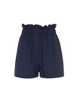 Gingham Pull On Paperbag Shorts by Tibi