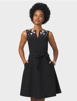 Belted Embellished Fit And Flare Dress by Dressbarn