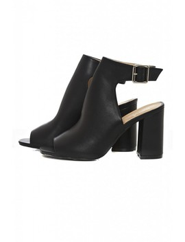 Black Peep Toe Pu Boots by Ax Paris