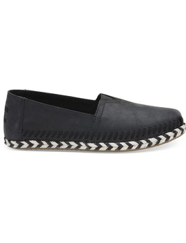 Black Leather Women's Espadrilles by Toms