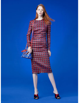 Long Sleeve Crew Neck Tailored Dress by Dvf