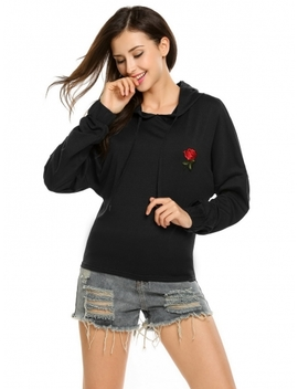 Black Long Sleeve Rose Applique Elastic Cuffs Pullover Hoodie by Dress Link