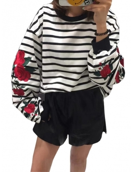 White Black&Amp;White Stripes Roses Embroidery Lantern Sleeve Loose Sweatshirt by Dress Link