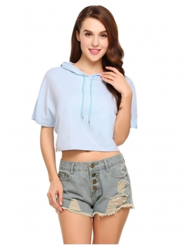 Blue Hooded Short Sleeve Solid Pullover Short Hoodie by Dress Link