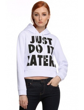 Acevog White Long Sleeve Letter Print Casual Hooded Short Women Hoodies & Sweatshirts by Dress Link