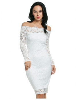 White Sexy Strapless Off The Shoulder Hollow Floral Lace Evening Party Bodycon Pencil Dress With Inner Tube Dress by Dress Link