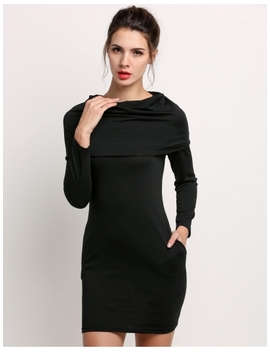 Black Women Polo Neck Package Hip Long Sleeve Pockets Plain Stretch Bodycon Hoodies & Sweatshirts Casual Dresses by Dress Link
