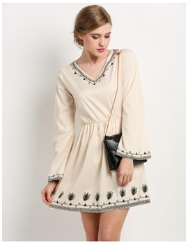 Beige Long Sleeve V Neck Print Flare Slim Mini Casual Dress by Dress Link