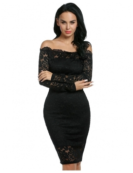 Black Sexy Strapless Off The Shoulder Hollow Floral Lace Evening Party Bodycon Pencil Dress With Inner Tube Dress by Dress Link