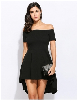 Black Off Shoulder Mini Swallowtail Party Dress by Dress Link