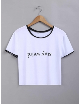 White Upside Down Letter Printed Contrast Color Trim T Shirt by Dress Link