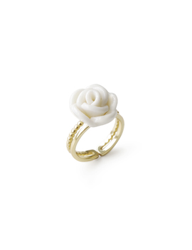 White Cloud Porcelain Rose Ring by Poporcelain