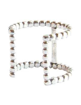 Wide Double Beaded Cuff Ring by Cindy Liebel