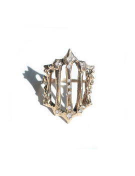 14k Gold &Amp; Diamond Gate Ring by Mary Gallagher