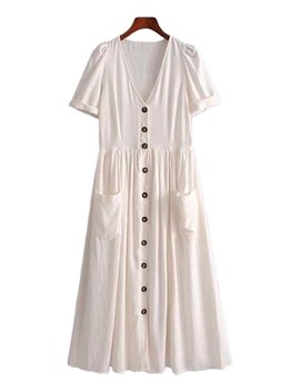 'walter' Long Buttoned V Neck Dress With Pockets by Goodnight Macaroon