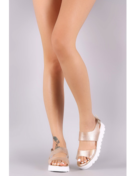Bamboo Glitter Lug Sole Jelly Flatform Sandal by Urbanog