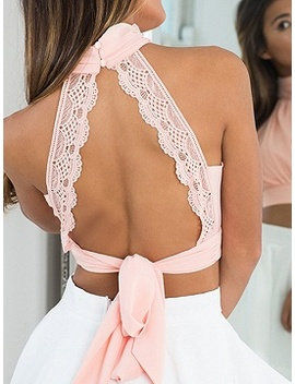 Pink High Neck Keyhole Front Lace Trim Cut Out Back Bralette Crop Top by Choies