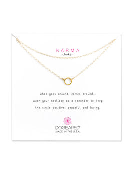 Karma Tiny Sparkle Ring Double Chain Choker, Gold Dipped by Dogeared