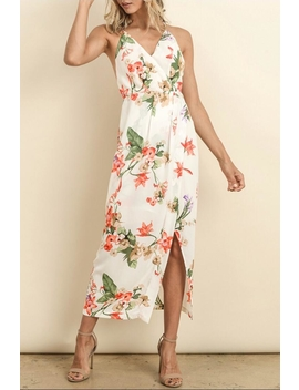 Floral Surplice Midi Dress by Chikas, Los Angeles