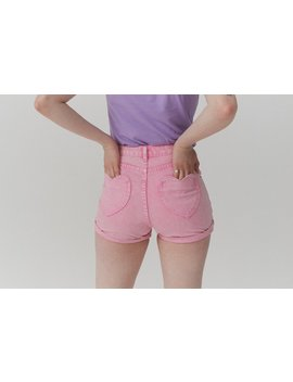 Lazy Oaf I Heart Pink Mom Shorts by Lazy Oaf