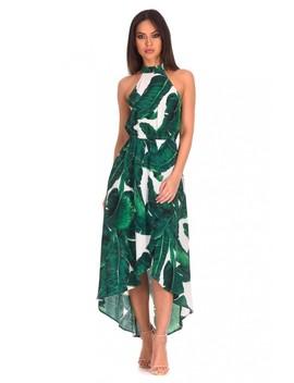 White Leaf Printed Dress by Ax Paris