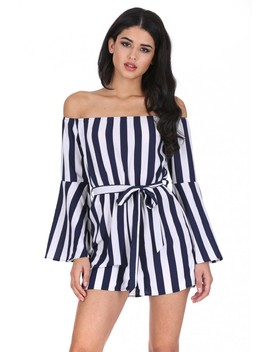 Navy Striped Off The Shoulder Playsuit by Ax Paris
