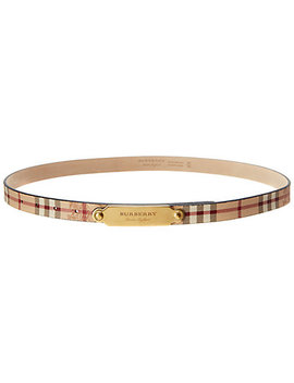 Burberry Plaque Buckle Haymarket Check & Leather Belt by Burberry