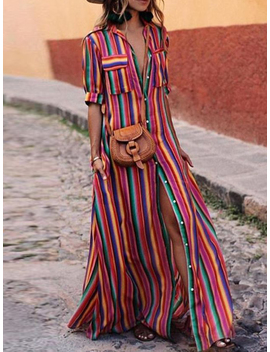 Polychrome Stripe Lapel Button Placket Front Maxi Dress by Choies