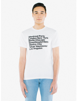 Cities Print 50/50 T Shirt by American Apparel