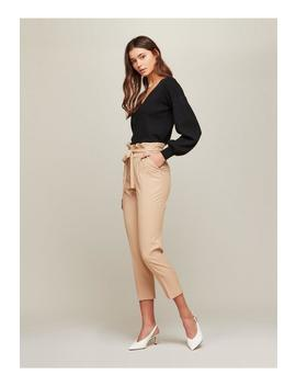 Camel Paperbag Trousers by Miss Selfridge