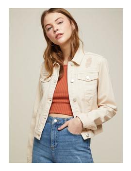 Peach Ripped Crop Denim Jacket by Miss Selfridge