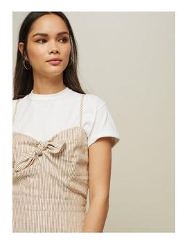 Camel Striped Tie Front Slip Dress by Miss Selfridge