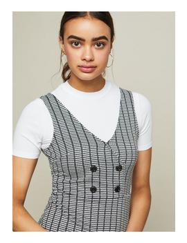 Checked Button Detail Pinafore Dress by Miss Selfridge