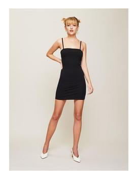 Black Strappy Straight Neck Bodycon Dress by Miss Selfridge